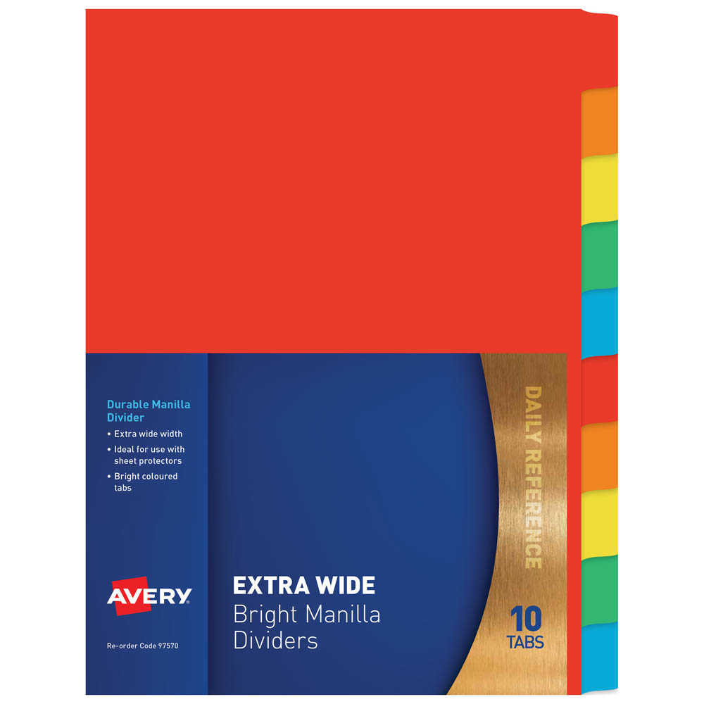 Image for AVERY 97570 DIVIDER MANILLA EXTRA WIDE 10 TAB A4 BRIGHT MULTI COLOURED from Office National Perth CBD
