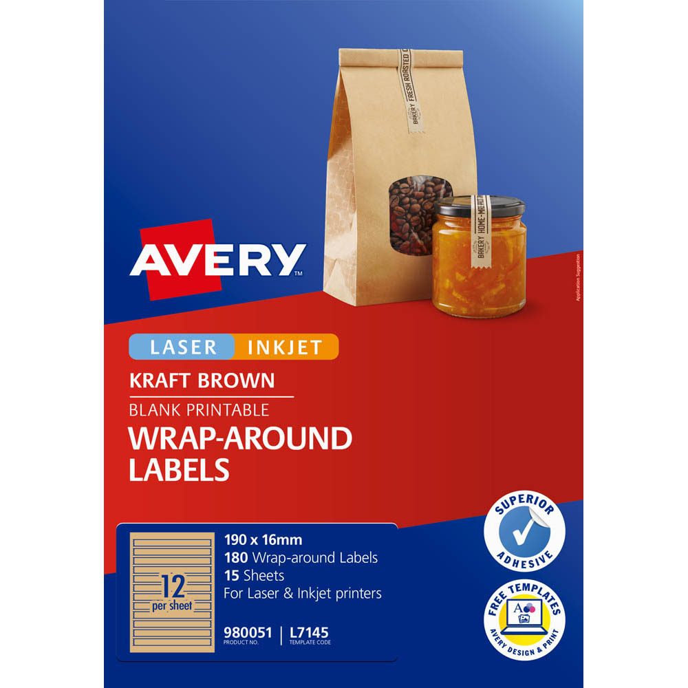 Image for AVERY 980051 L7145 LABELS WRAPAROUND KRAFT BROWN PACK 180 from Paul John Office National