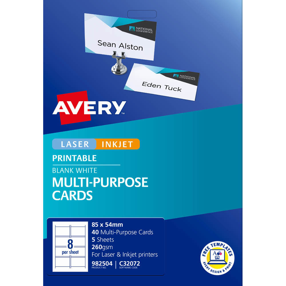 Image for AVERY 982504 C32072 PLACECARDS PACK 40 from Axsel Office National