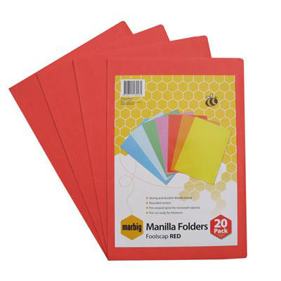 Image for MARBIG MANILLA FOLDER FOOLSCAP RED PACK 20 from Office National Perth CBD