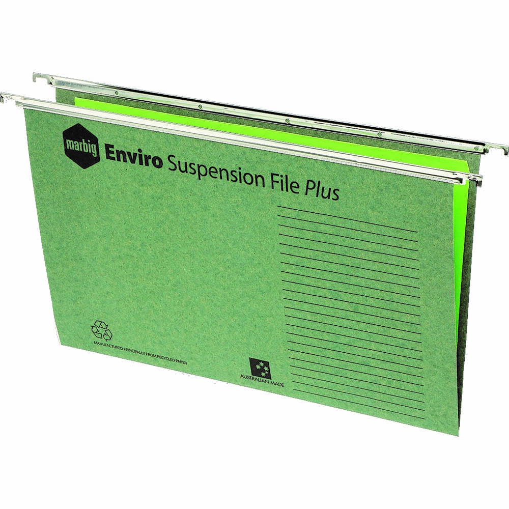 Image for MARBIG ENVIRO PLUS SUSPENSION FILES FOOLSCAP GREEN BOX 50 from Axsel Office National