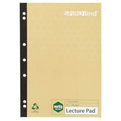 Image for MARBIG 100% RECYCLED LECTURE PAD 7 HOLE PUNCHED 140 PAGE A4 from Office National Perth CBD