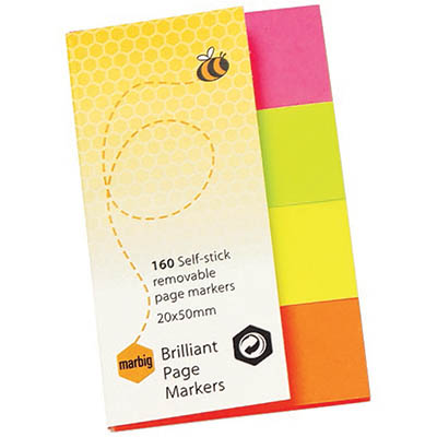Image for MARBIG NOTES BRILLIANT PAGE MARKERS 160 SHEET 20 X 50MM ASSORTED from Surry Office National