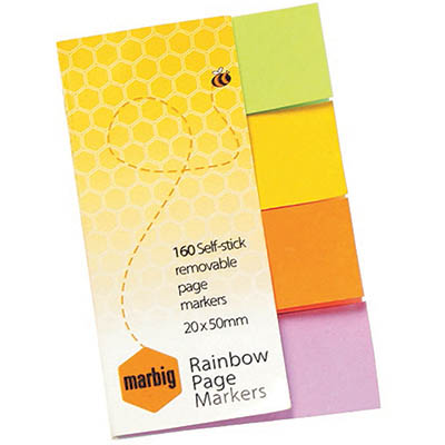Image for MARBIG NOTES RAINBOW PAGE MARKERS 160 SHEET 20 X 50MM ASSORTED from Surry Office National