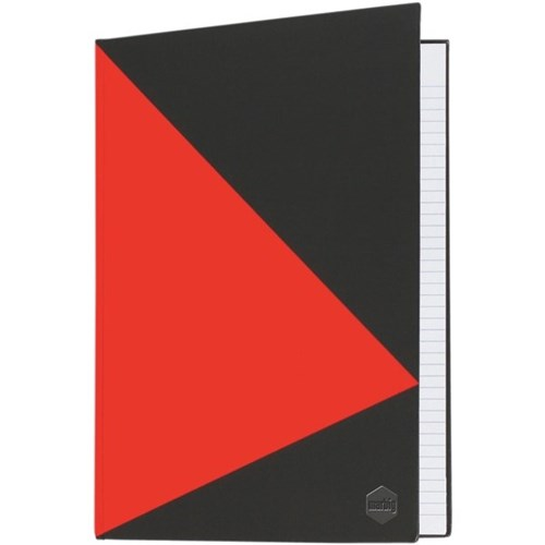 Image for MARBIG NOTEBOOK FEINT RULED HARD COVER CASEBOUND A5 100 LEAF BLACK/RED from Office National Perth CBD