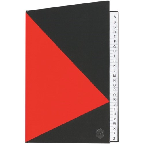 Image for MARBIG NOTEBOOK FEINT RULED A-Z INDEX HARD COVER CASEBOUND A5 100 LEAF BLACK/RED from Axsel Office National
