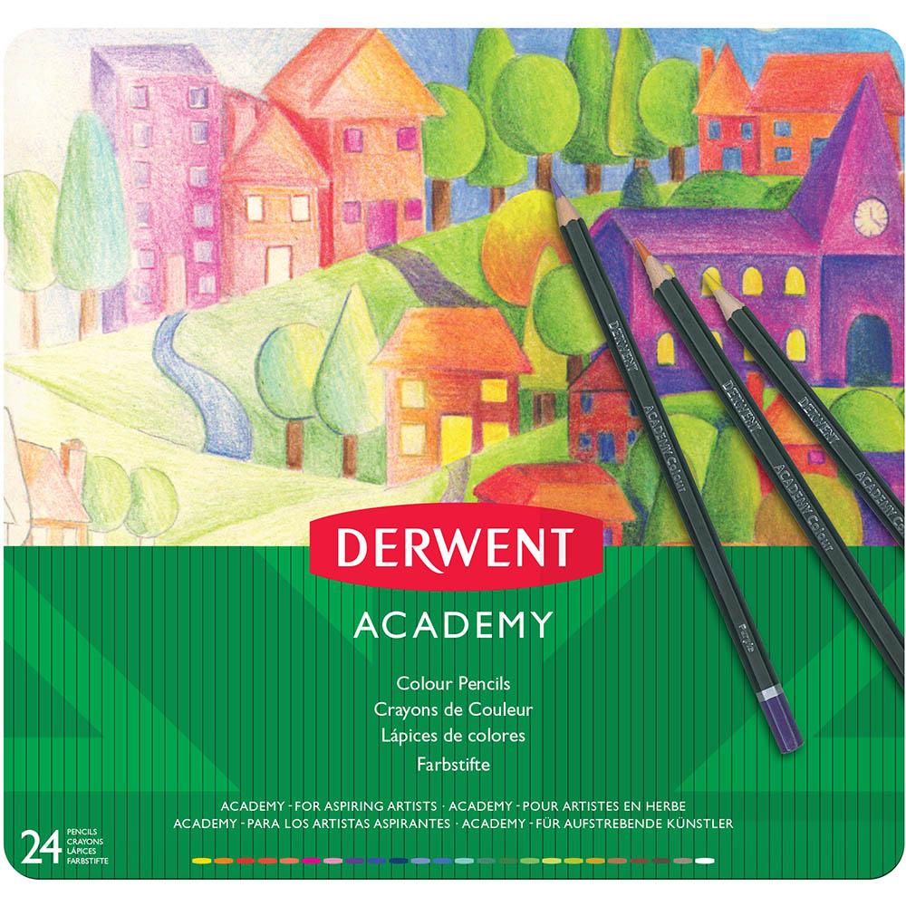 Image for DERWENT ACADEMY COLOURING PENCIL ASSORTED TIN 24 from Paul John Office National