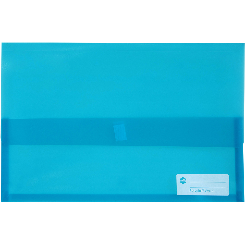 Image for MARBIG POLYPICK DOCUMENT WALLET FOOLSCAP TRANSLUCENT MARINE from Paul John Office National