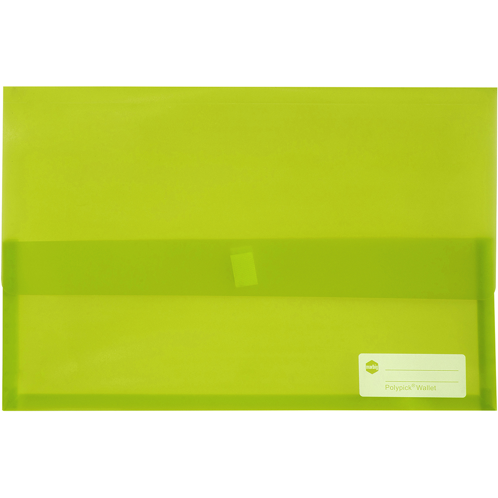 Image for MARBIG POLYPICK DOCUMENT WALLET FOOLSCAP TRANSLUCENT LIME from Paul John Office National