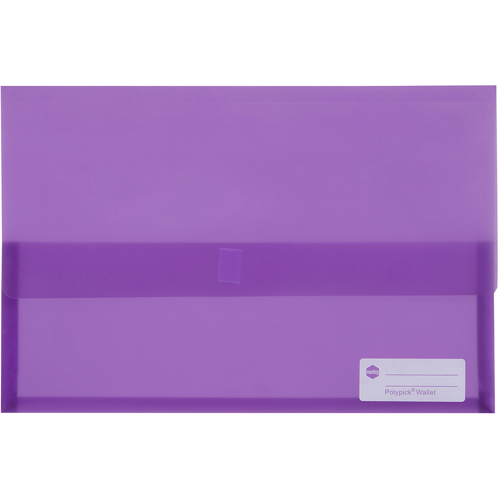 Image for MARBIG POLYPICK DOCUMENT WALLET FOOLSCAP TRANSLUCENT PURPLE from Paul John Office National