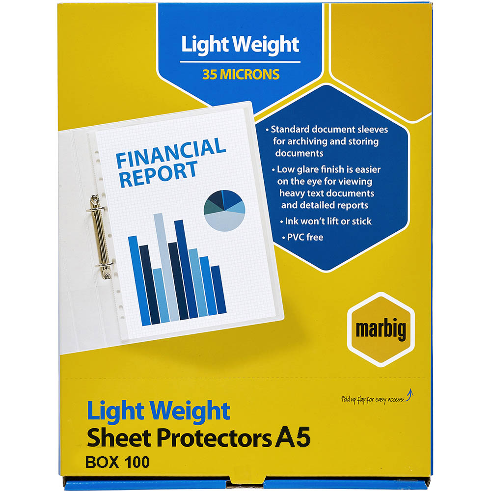 Image for MARBIG LIGHTWEIGHT COPYSAFE SHEET PROTECTORS A5 BOX 100 from Paul John Office National
