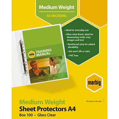 Image for MARBIG SHEET PROTECTORS MEDIUM WEIGHT A4 BOX 100 from Office National Perth CBD