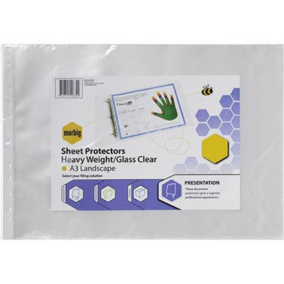 Image for MARBIG HEAVY DUTY SHEET PROTECTORS LANDSCAPE A3 PACK 100 from Paul John Office National
