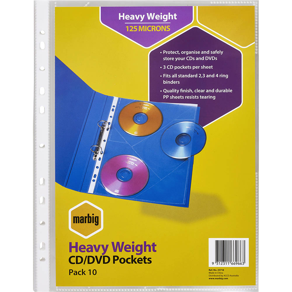Image for MARBIG HEAVYWEIGHT COPYSAFE CD/DVD POCKETS 3 CAPACITY A4 PACK 10 from Pirie Office National