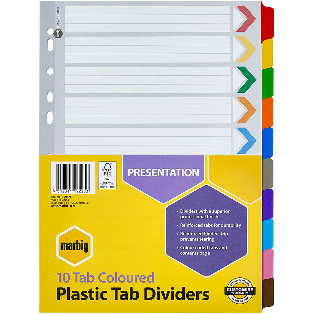 Image for MARBIG DIVIDER 10-TAB REINFORCED A4 ASSORTED from Axsel Office National