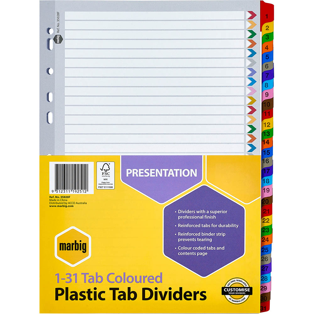 Image for MARBIG INDEX DIVIDER MANILLA 1-31 TAB A4 ASSORTED from Axsel Office National