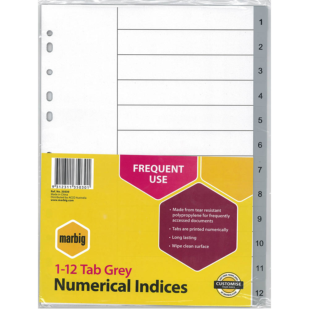 Image for MARBIG INDEX DIVIDER PP 1-12 TAB A4 GREY from Paul John Office National