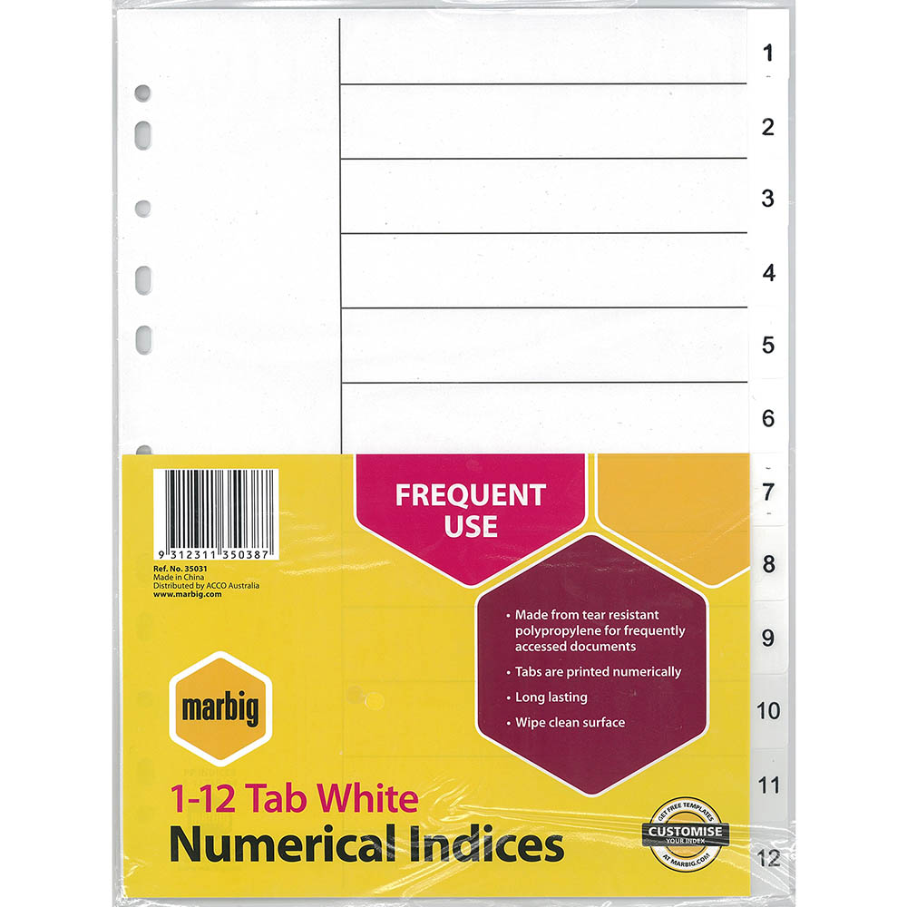 Image for MARBIG INDEX DIVIDER PP 1-12 TAB A4 WHITE from Mackay Business Machines (MBM)