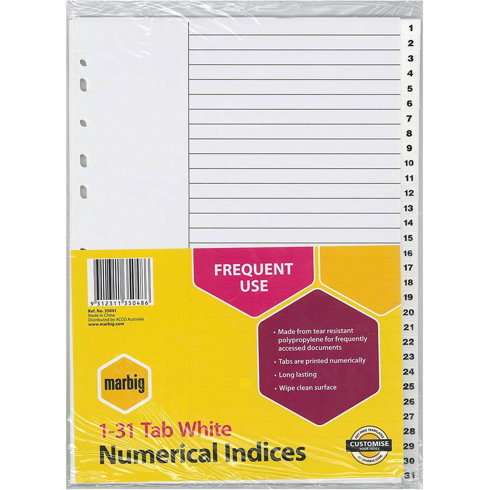 Image for MARBIG INDEX DIVIDER PP 1-31 TAB A4 WHITE from Axsel Office National