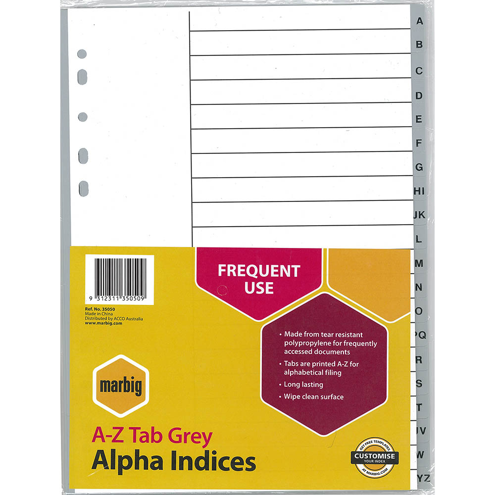 Image for MARBIG INDEX DIVIDER PP A-Z TAB A4 GREY from Office National Perth CBD