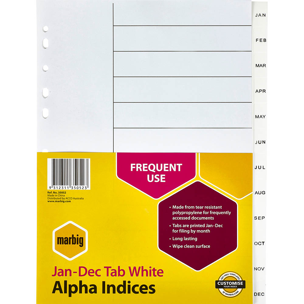 Image for MARBIG INDEX DIVIDER PP JAN-DEC TAB A4 WHITE from Paul John Office National