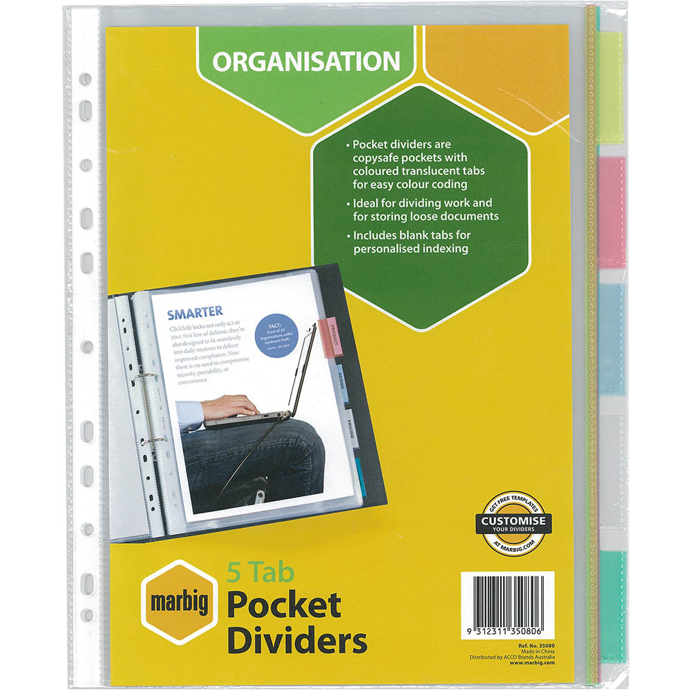 Image for MARBIG COPYSAFE DIVIDER POCKET PP 5-TAB A4 ASSORTED from Office National Perth CBD