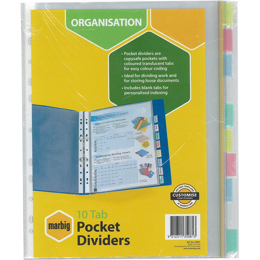 Image for MARBIG COPYSAFE DIVIDER POCKET PP 10-TAB A4 ASSORTED from Office National Perth CBD