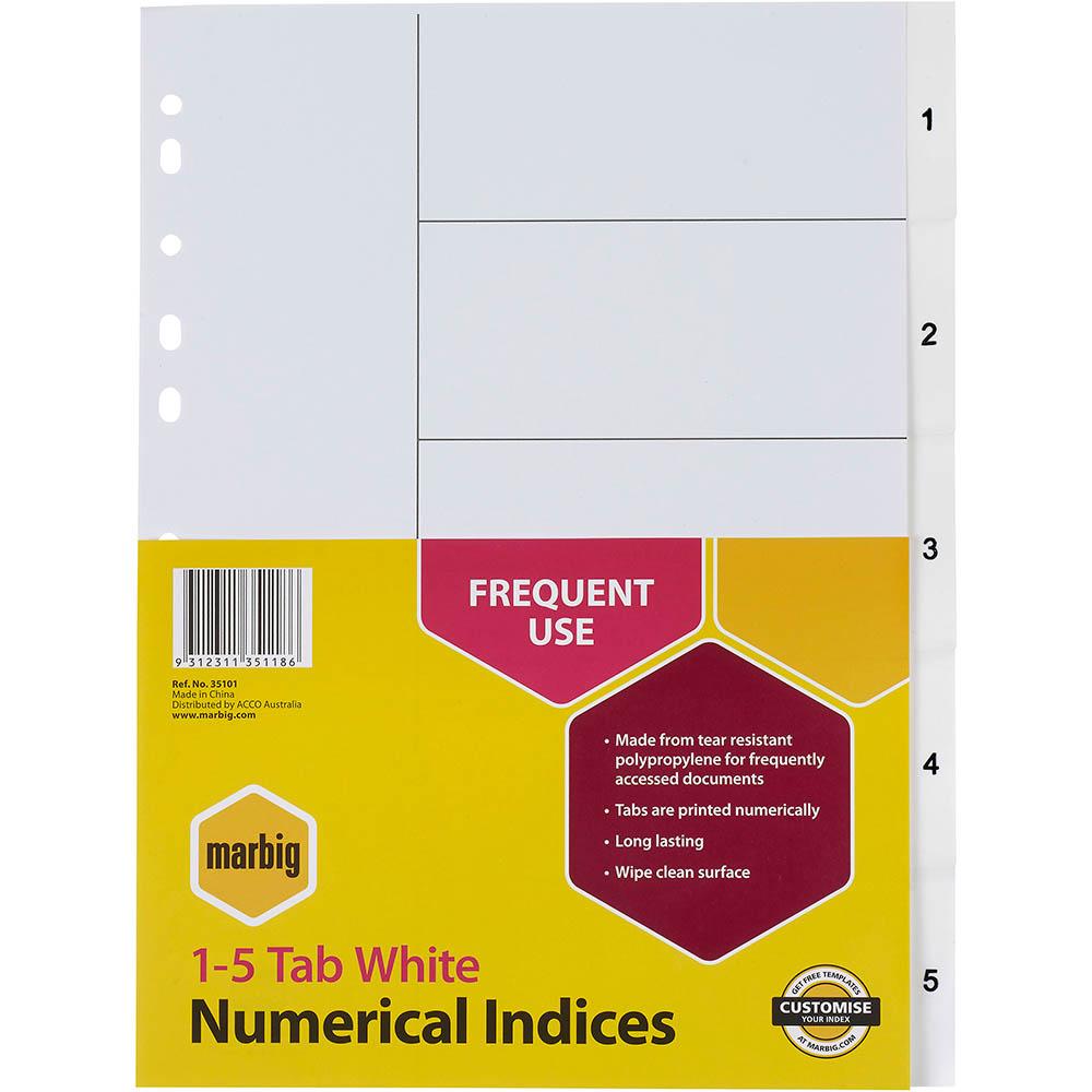 Image for MARBIG INDEX DIVIDER PP 1-5 TAB A4 WHITE from Mackay Business Machines (MBM)