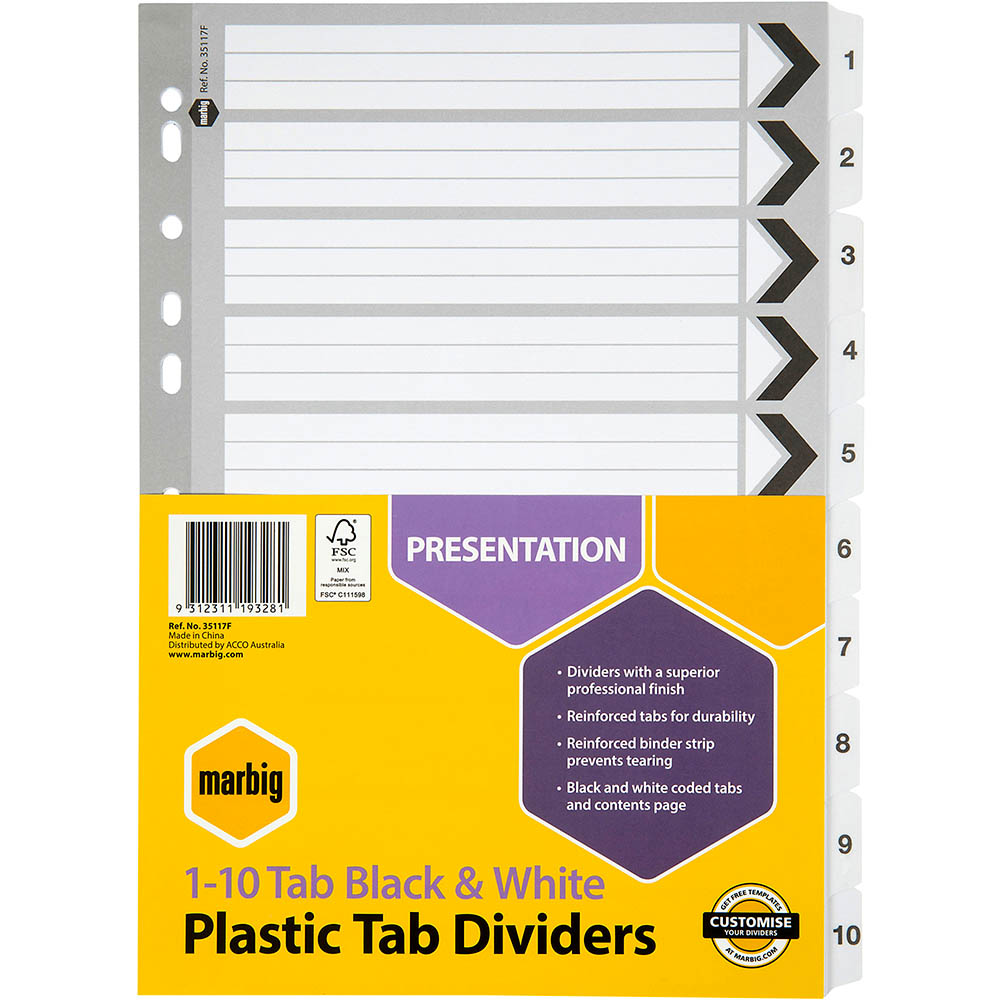 Image for MARBIG INDEX DIVIDER REINFORCED 1-10 TAB A4 BLACK/WHITE from Office National Perth CBD