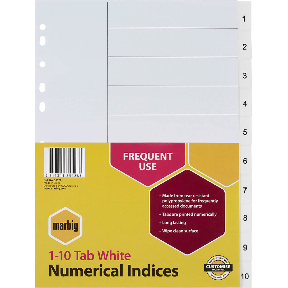 Image for MARBIG INDEX DIVIDER PP 1-10 TAB A4 WHITE from Axsel Office National