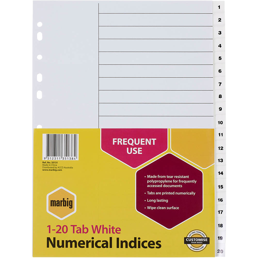 Image for MARBIG INDEX DIVIDER NUMERICAL 1-20 TAB PP A4 WHITE from Office National Perth CBD