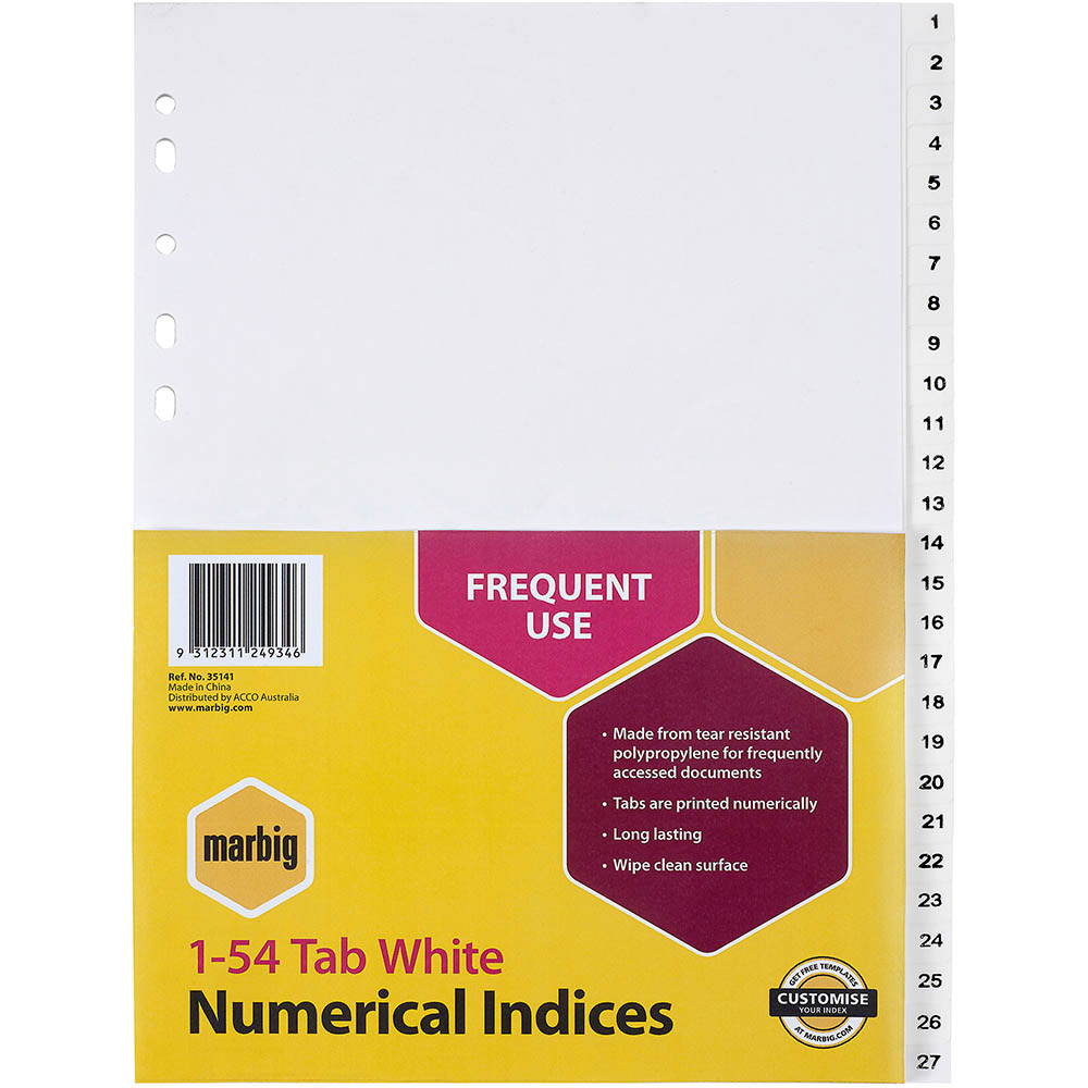 Image for MARBIG DIVIDER PP 54-TAB A4 WHITE from Office National Perth CBD