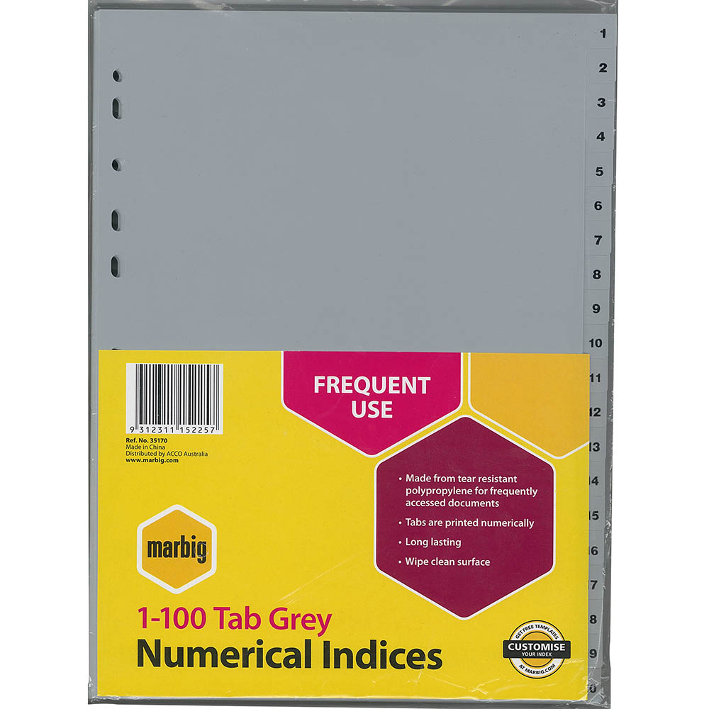 Image for MARBIG INDEX DIVIDER PP 1-100 TAB A4 GREY from Office National Perth CBD