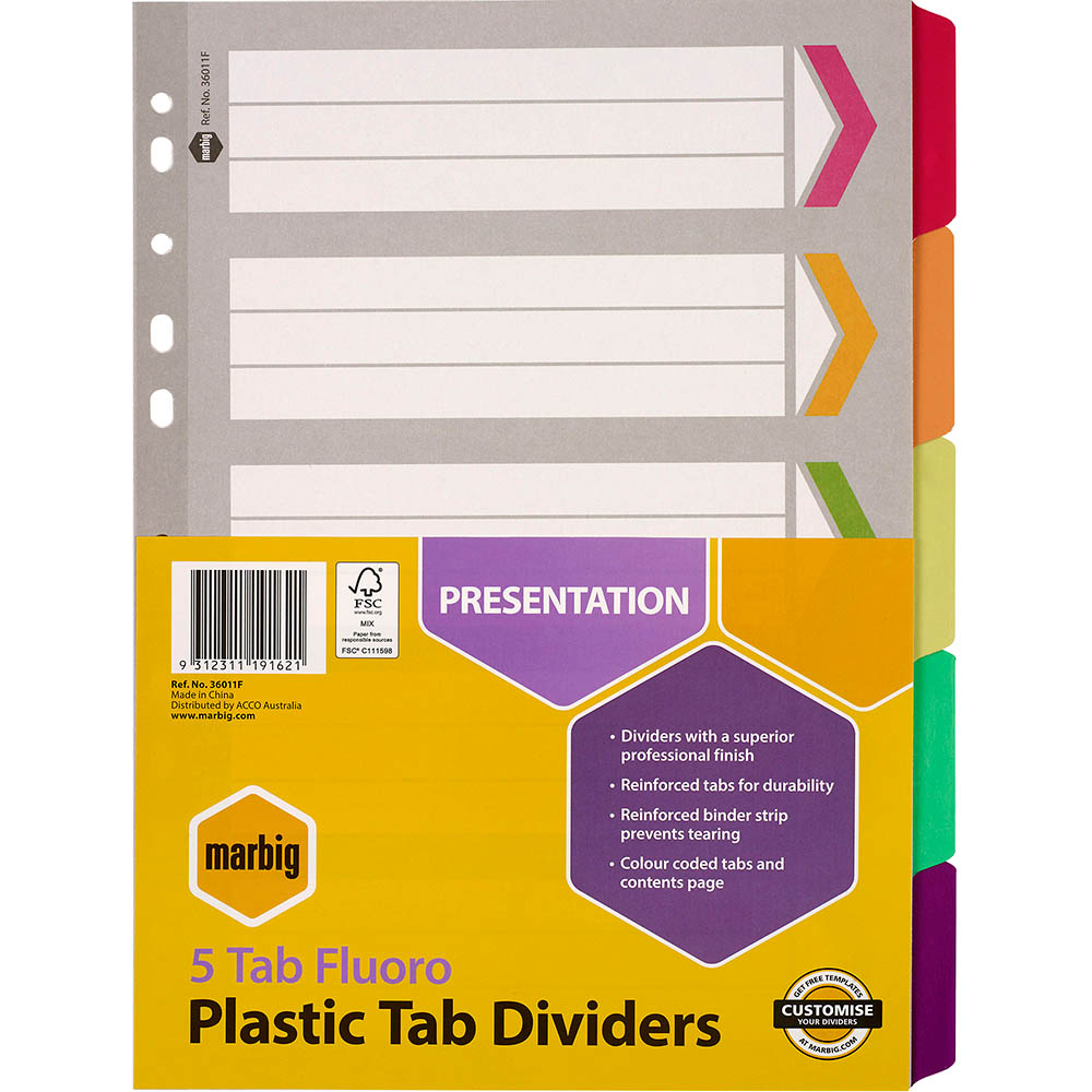 Image for MARBIG DIVIDER REINFORCED MANILLA 5-TAB A4 FLUORO ASSORTED from Paul John Office National