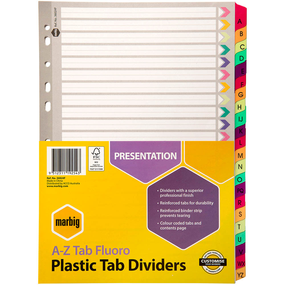 Image for MARBIG INDEX DIVIDER REINFORCED MANILLA A-Z TAB A4 FLUORO ASSORTED from Paul John Office National