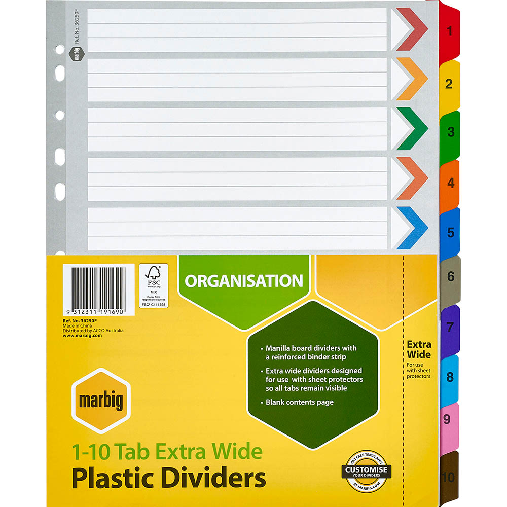 Image for MARBIG INDEX DIVIDER EXTRA WIDE MANILLA 1-10 TAB A4 ASSORTED from Paul John Office National