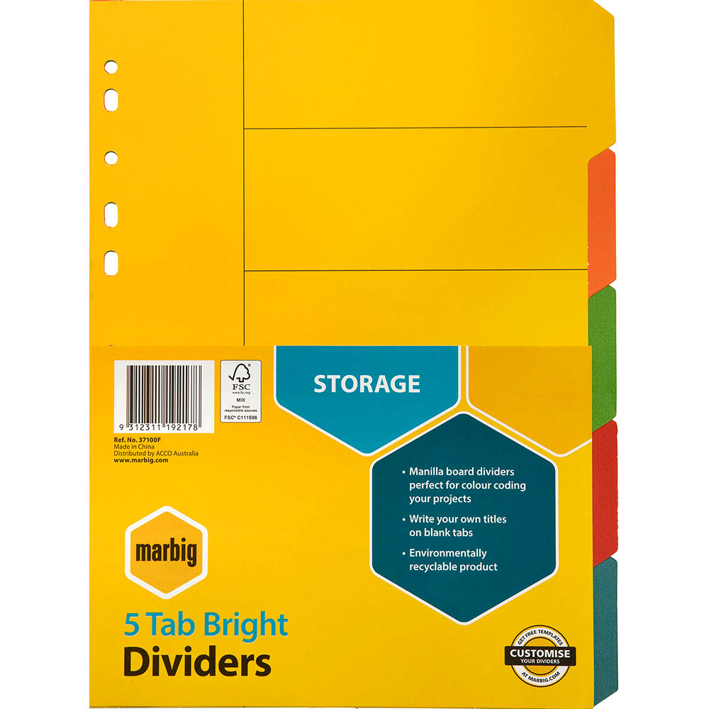 Image for MARBIG DIVIDER MANILLA 5-TAB A4 BRIGHT ASSORTED from Office National Perth CBD