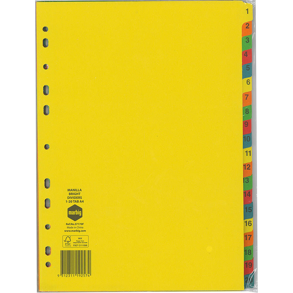 Image for MARBIG DIVIDER MANILLA 20-TAB A4 BRIGHT ASSORTED from Office National Kalgoorlie
