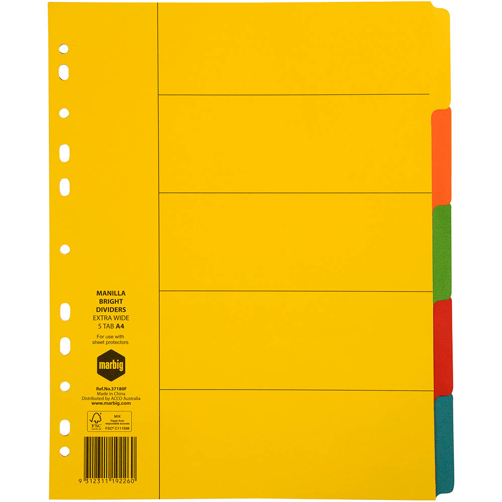Image for MARBIG EXTRA WIDE DIVIDER MANILLA 5-TAB A4 BRIGHT ASSORTED from Office National Perth CBD