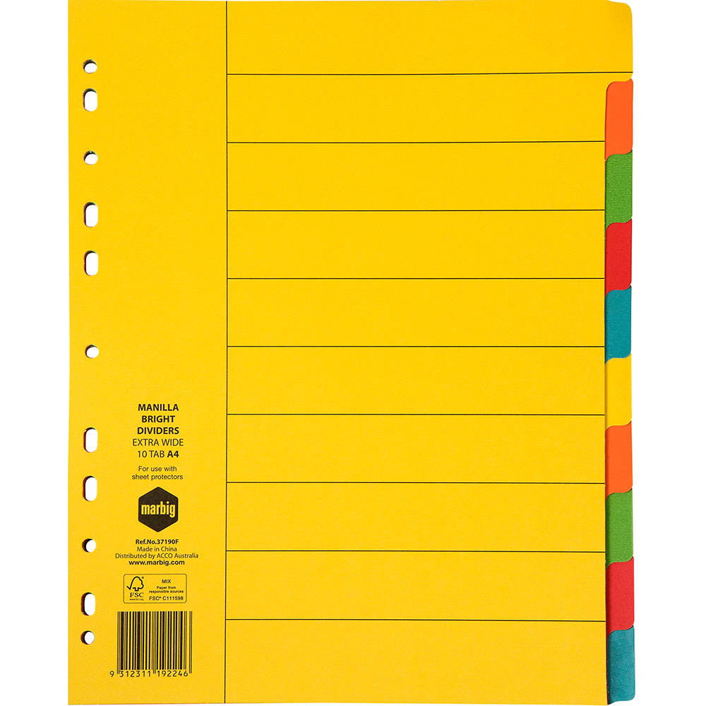 Image for MARBIG EXTRA WIDE DIVIDER MANILLA 10-TAB A4 BRIGHT ASSORTED from Office National Perth CBD
