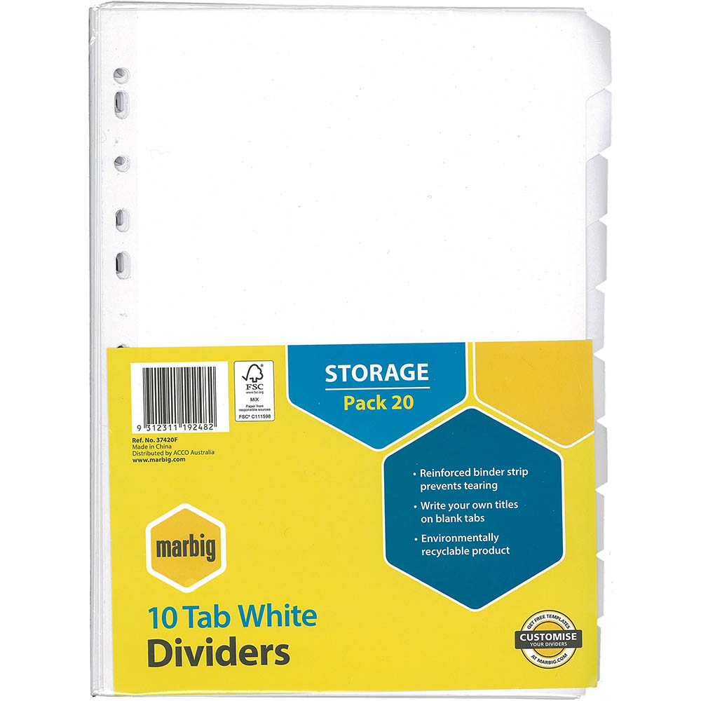 Image for MARBIG DIVIDER MANILLA 10-TAB A4 WHITE PACK 20 from Office National Perth CBD