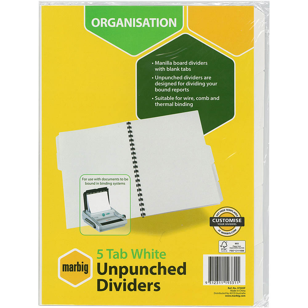 Image for MARBIG DIVIDER UNPUNCHED MANILLA 5-TAB A4 WHITE from Office National Perth CBD