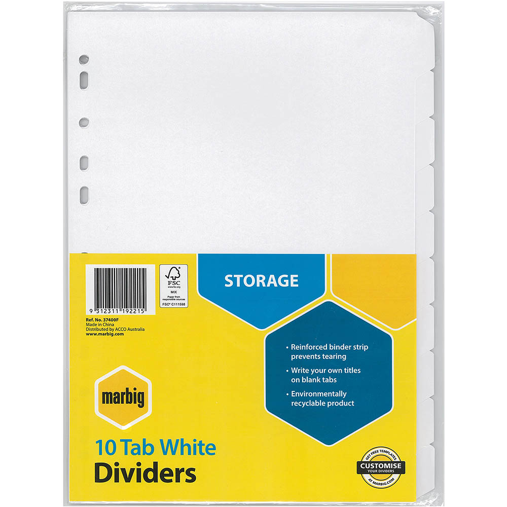 Image for MARBIG DIVIDER MANILLA 10-TAB A4 WHITE from Office National Perth CBD