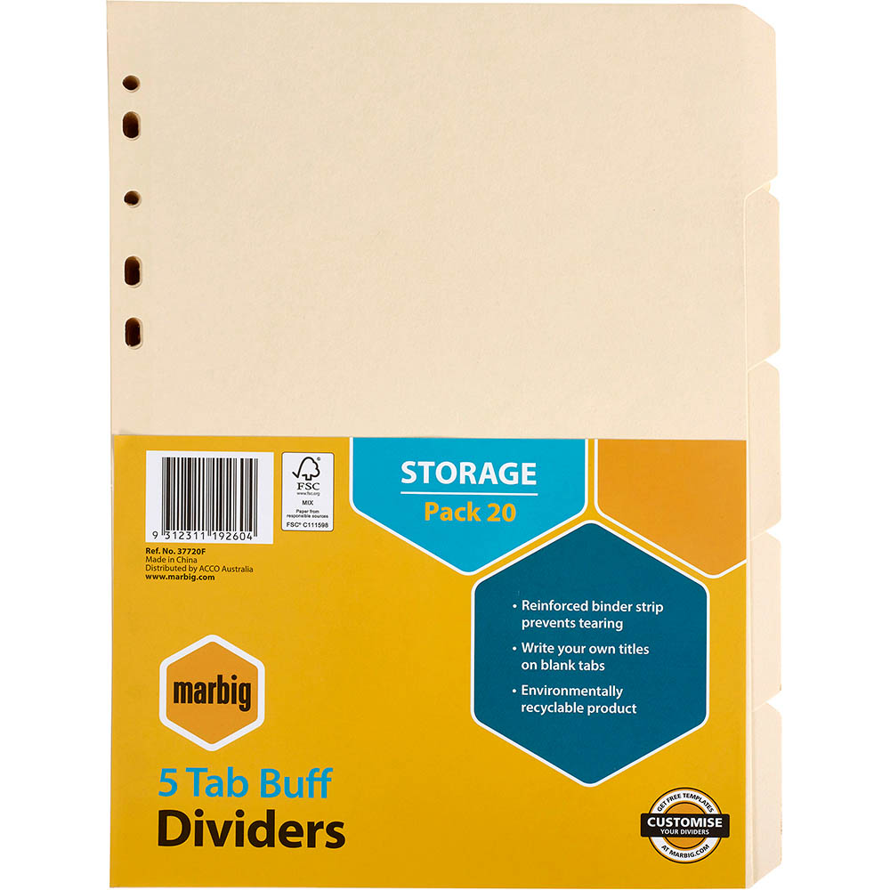Image for MARBIG DIVIDER MANILLA 5-TAB A4 BUFF PACK 20 from Office National Perth CBD