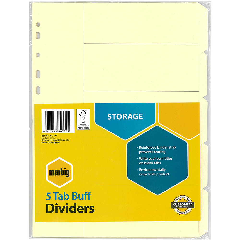 Image for MARBIG DIVIDER MANILLA 5-TAB A4 BUFF from Office National Perth CBD