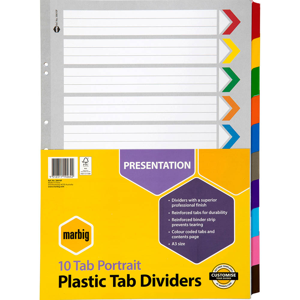 Image for MARBIG DIVIDER REINFORCED MANILLA 10-TAB A3 ASSORTED from Mackay Business Machines (MBM)
