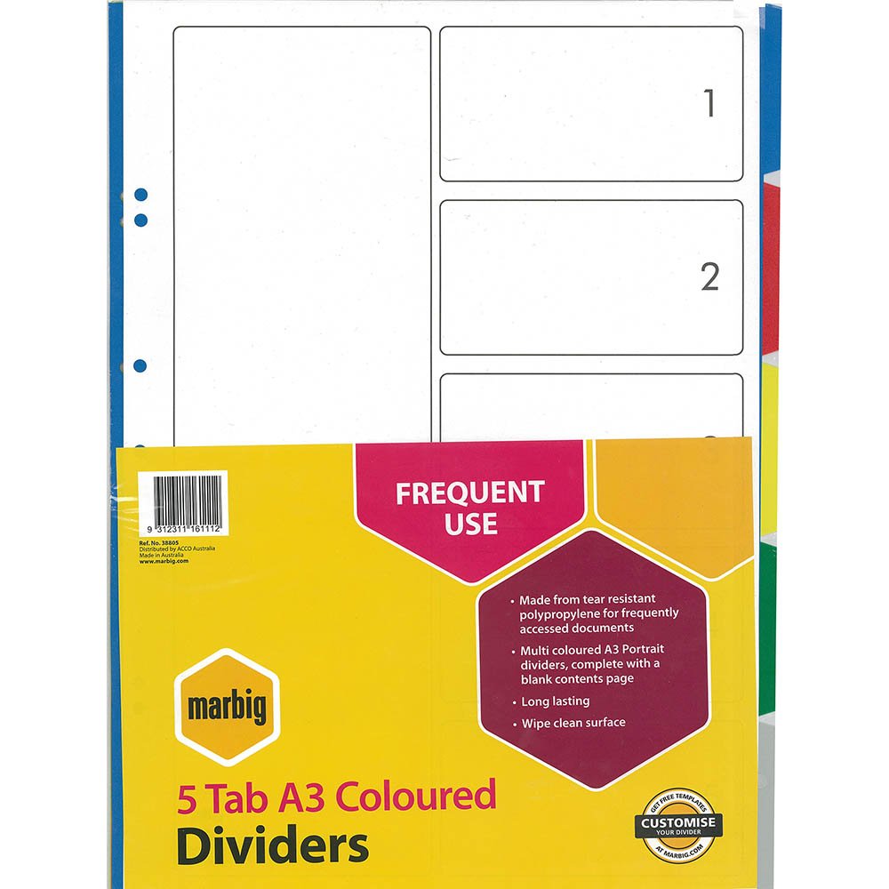 Image for MARBIG DIVIDER PP 5-TAB A3 ASSORTED from Office National Perth CBD
