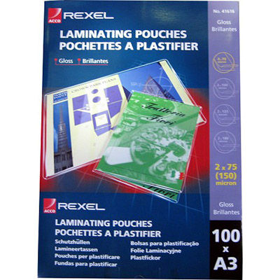 Image for REXEL LAMINATING POUCH 75 MICRON A3 CLEAR PACK 100 from Office National Kalgoorlie