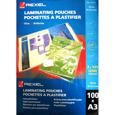 Image for REXEL LAMINATING POUCH 125 MICRON A3 CLEAR PACK 100 from Office National Kalgoorlie