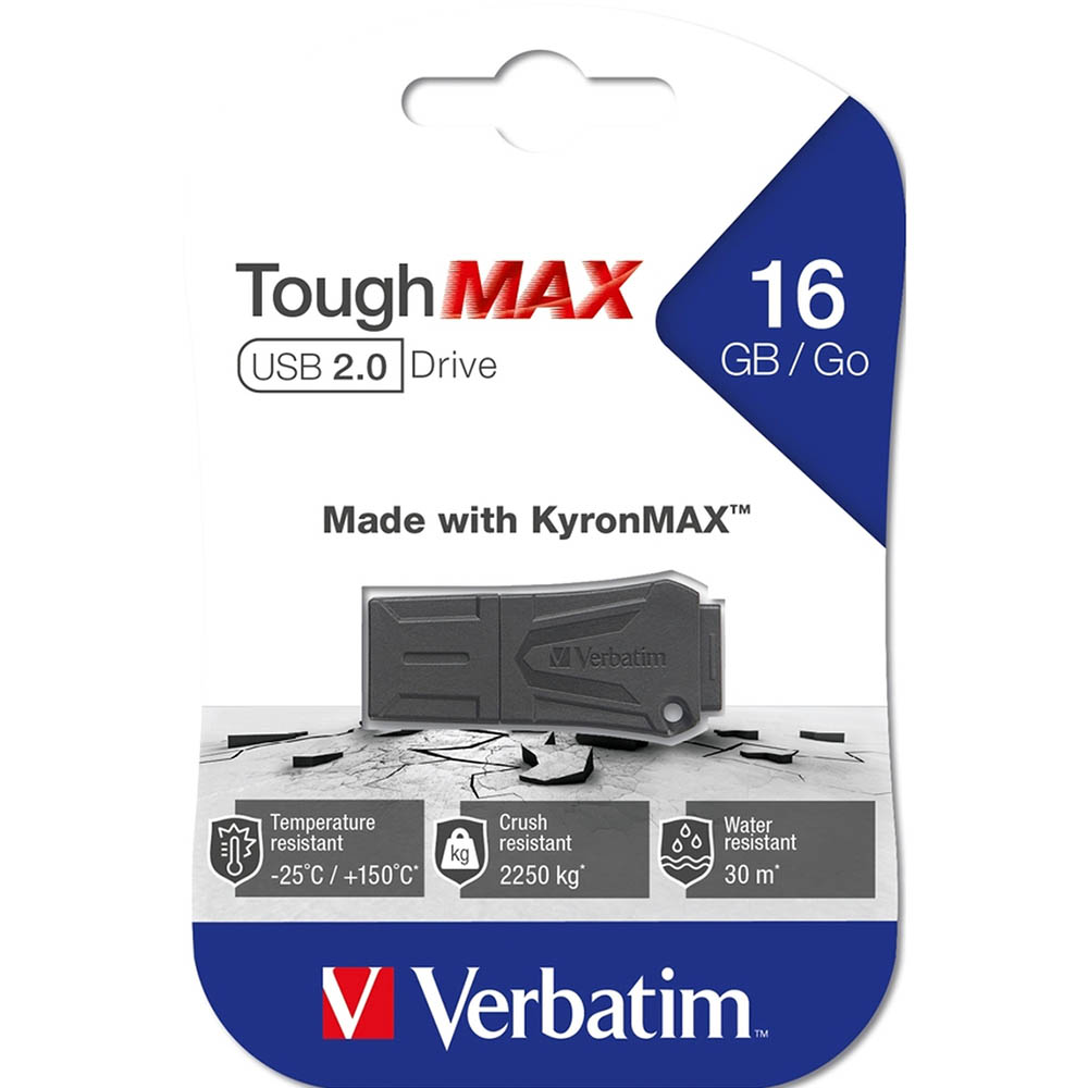 Image for VERBATIM TOUGHMAX USB2.0 FLASH DRIVE 16GB BLACK from Chris Humphrey Office National
